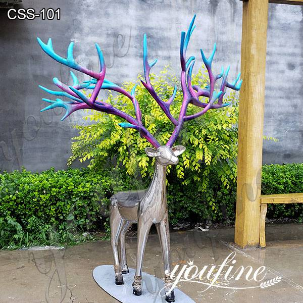Garden Decor Life Size Deer Stainless Steel Abstract Sculpture Fabrication CSS-101