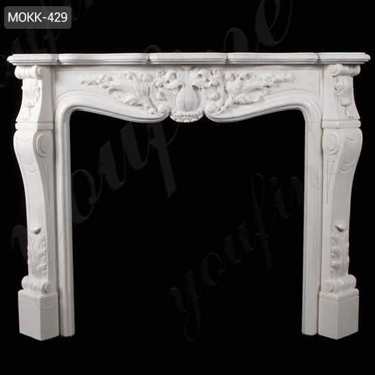 Hand Carved French Design Marble Fireplace Mantel with Floral Pattern MOKK-429