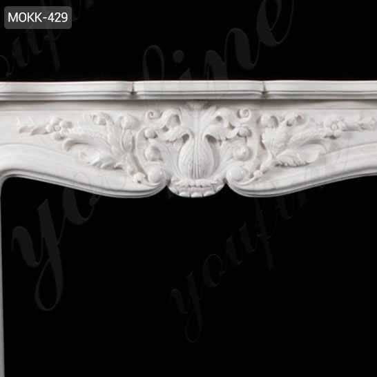 Hand Carved French Design Marble Fireplace Mantel with Floral Patterns