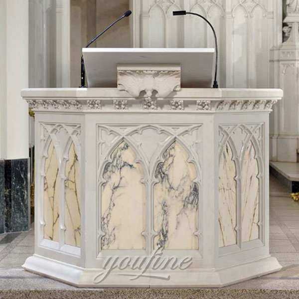 Hand Carved Religious Marble Church Pulpit