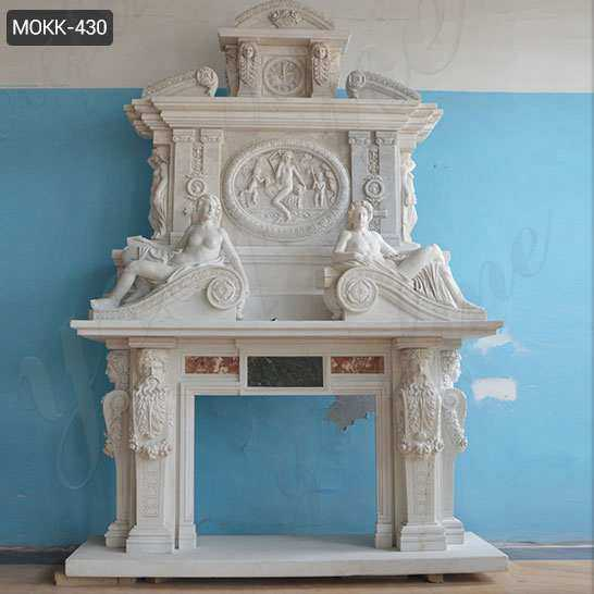 Hand Carved White Marble Overmantel Fireplace with Statues
