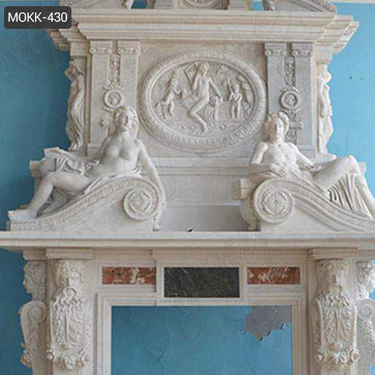 Hand Carved White Marble Overmantel Fireplace
