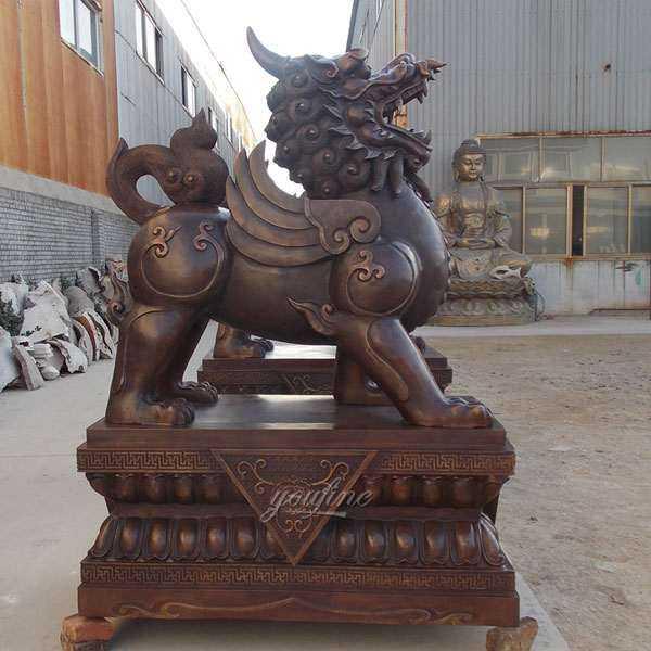 High Quality Antique Cast Bronze Kirin Statue for Front Porch Sulliper