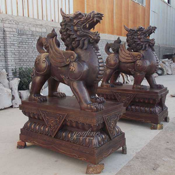 High Quality Antique Cast Bronze Kirin Statue for Front Porch Supplier