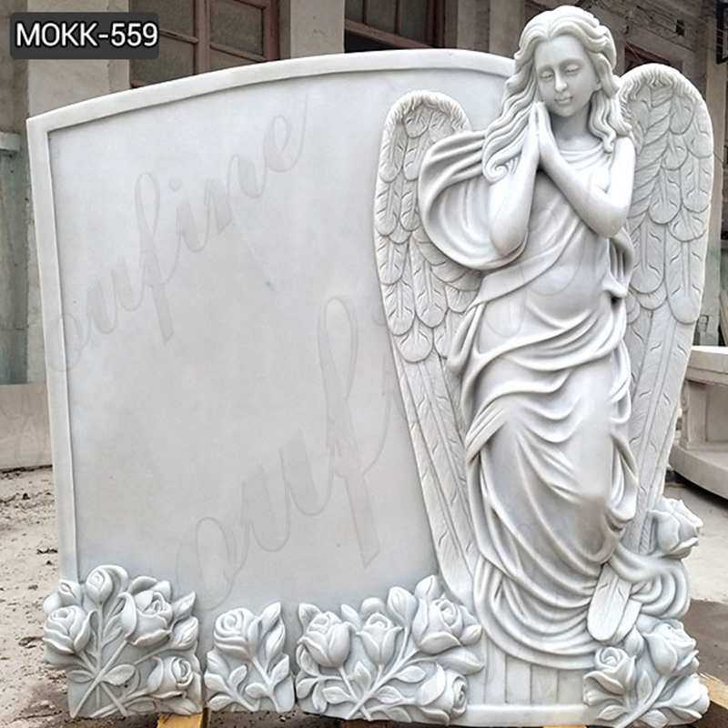 High Quality Beautiful Marble Angel Monument Headstone Supplier MOKK-559