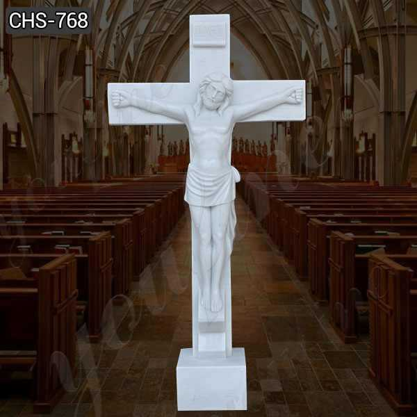 Jesus Christ on the Cross Marble Statue for Church Decor for Sale
