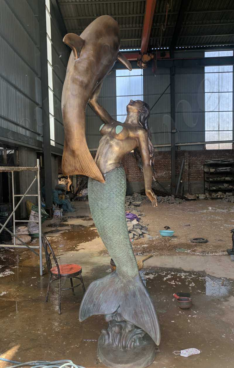 Large Bronze Patina Mermaid Statue Custom Made for Our Norwegian Client