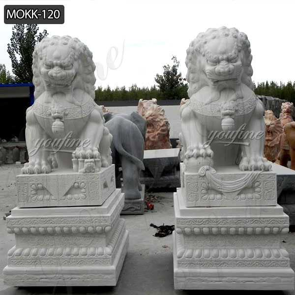 Large Foo Dog Statues for Sale Outdoor Marble Lion Statues MOKK-120