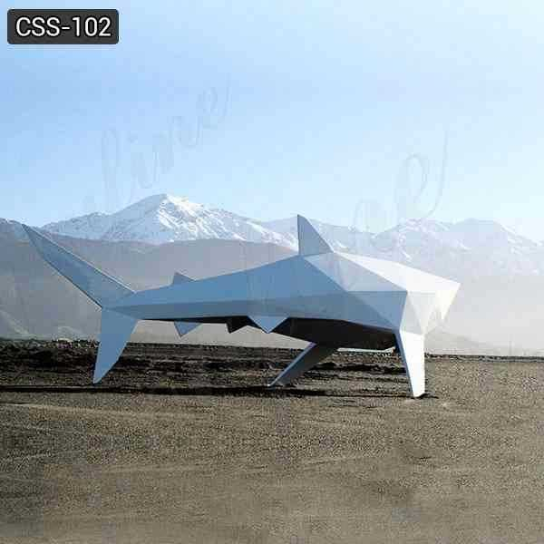 Large Modern Shark Stainless Steel Abstract Animal Sculpture Supplier CSS-102