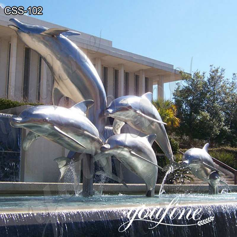 Large Modern Stainless Steel Dolphin Sculpture Supplier CSS-102