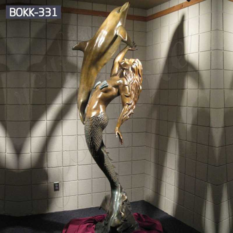 Large Outdoor Bronze Mermaid Statue Play with Dolphin for Sale