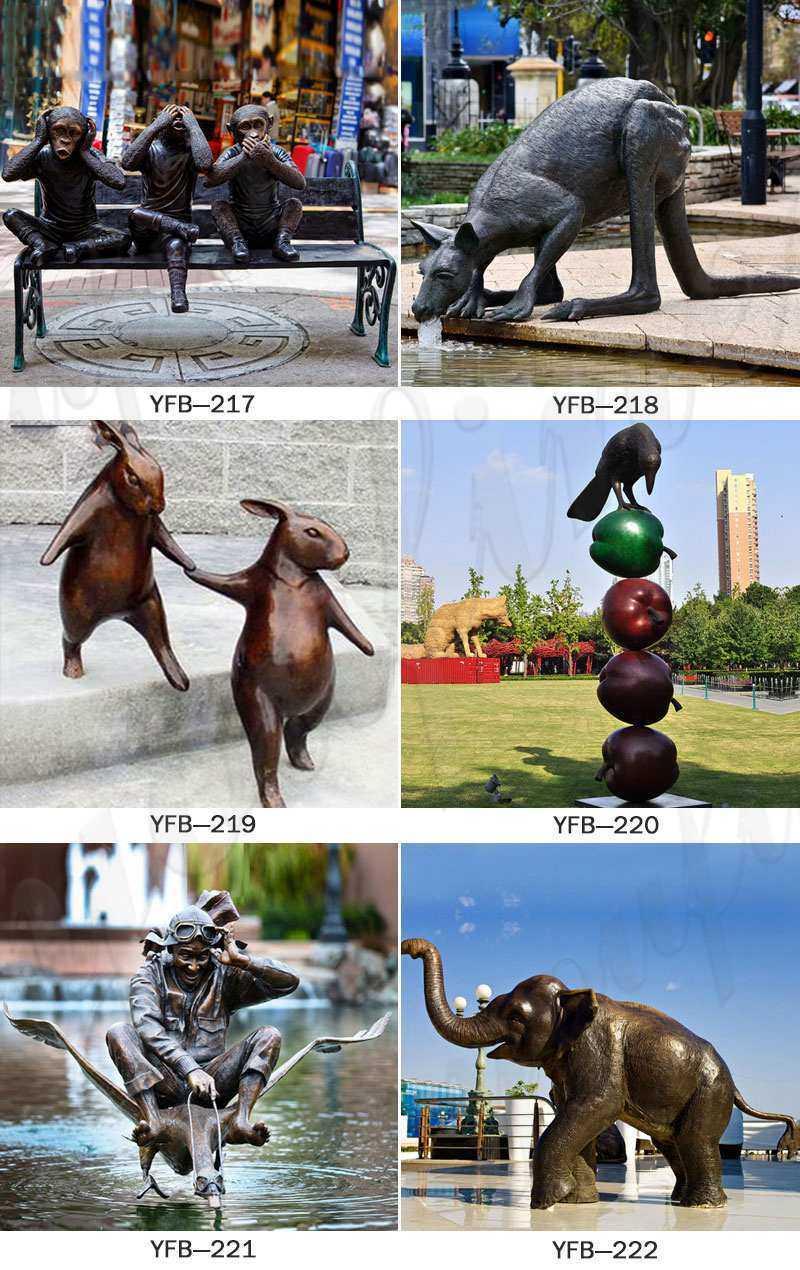 Life Size Antique Bronze Penguin Family Statue