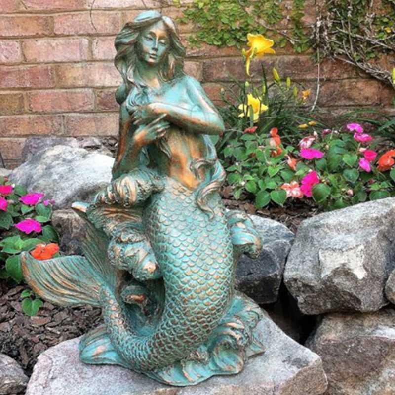 Life Size Bronze Mermaid Garden Statue Sitting on Rock Supplier