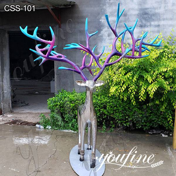Life Size Deer Stainless Steel Abstract Sculpture