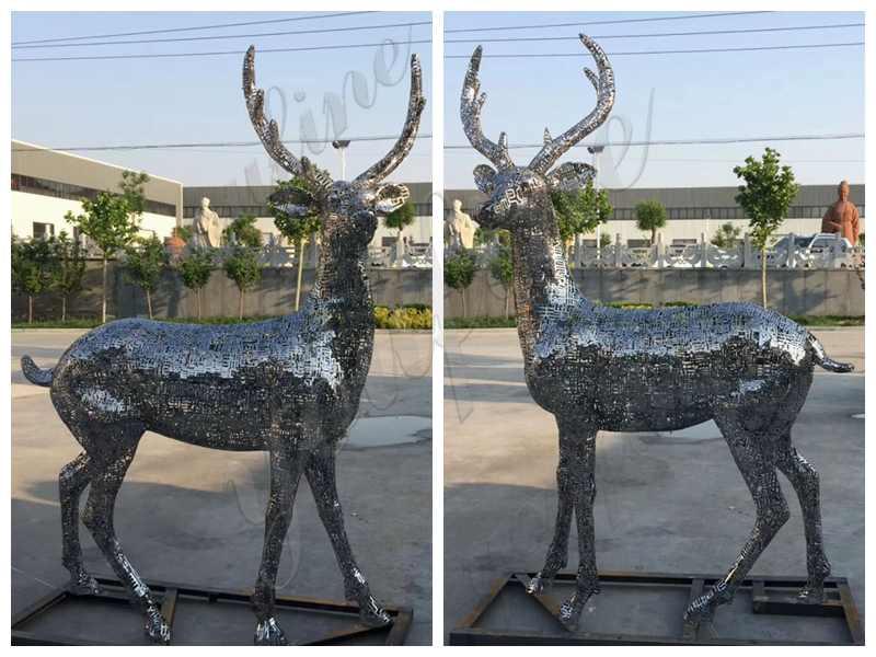 Life Size Stainless Steel Animal Deer Sculpture