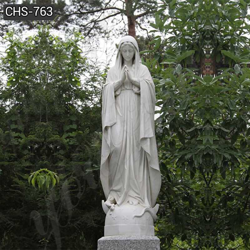 Life Size White Marble Blessed Mother Mary Statue for Outside Decor