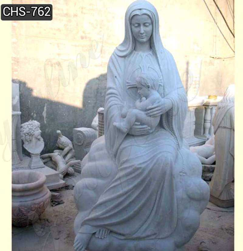 Marble Virgin Mary and Baby Jesus Statue for Sale