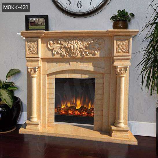 Modern Beige Marble Fireplace Mantel with Columns from China Factory MOKK-431