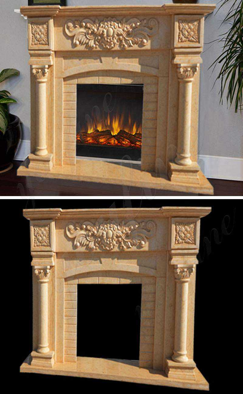 Modern Marble Fireplace Mantel with Colunms