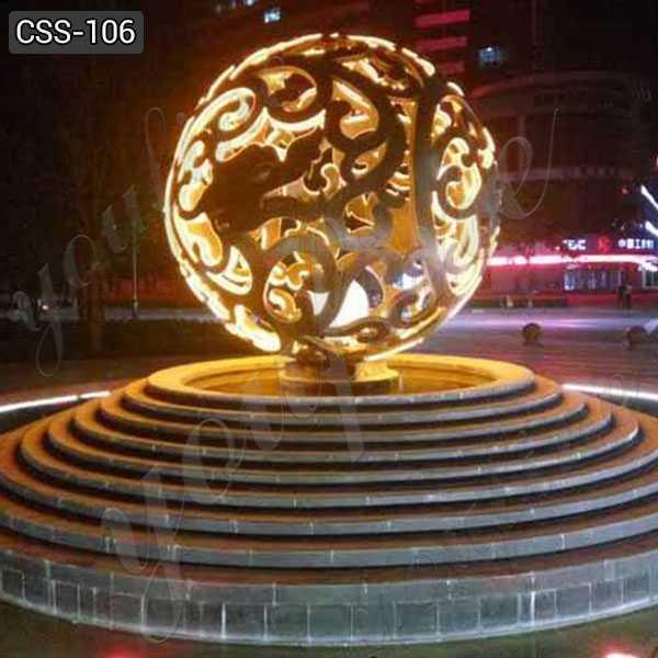 Outdoor Hollow Stainless Steel Ball Sculpture