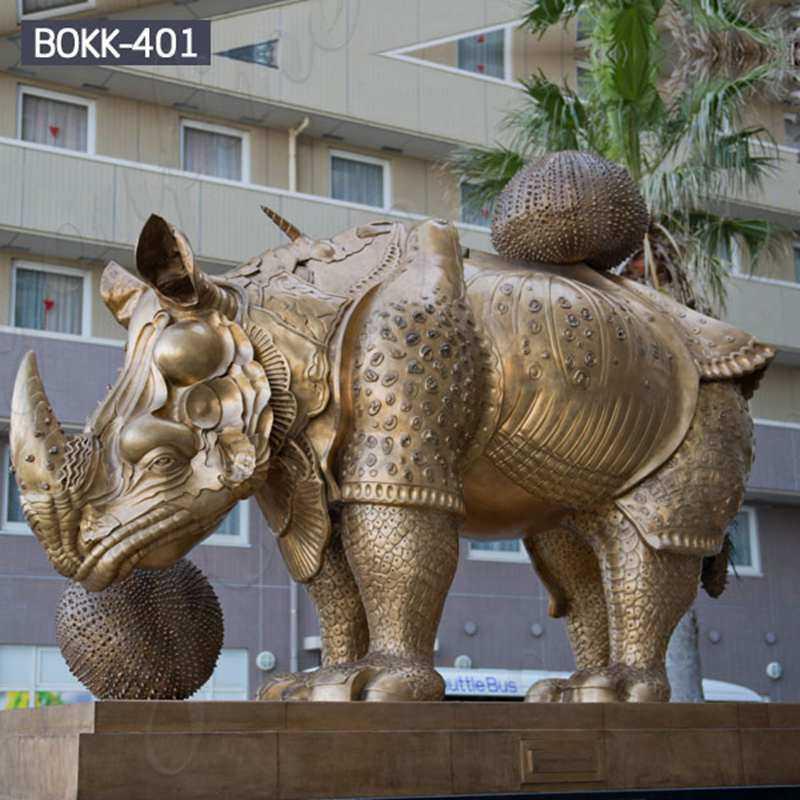 Outdoor Large Bronze Rhinoceros Statue Metal Wildlife Sculpture BOKK-401