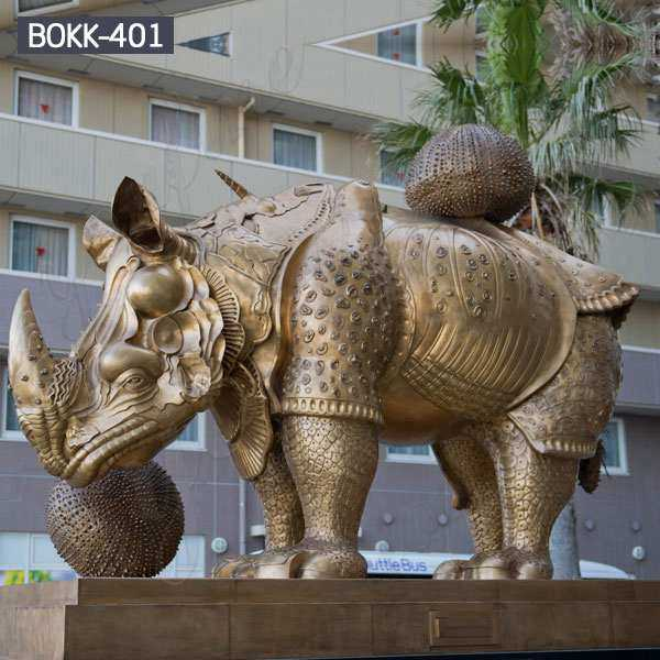 Outdoor Large Bronze Rhinoceros Statue Metal Wildlife Sculpture