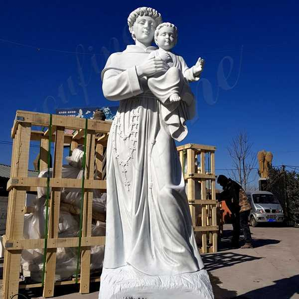 Outdoor Life Size St Anthony with Baby Jesus Marble Statue Supplier