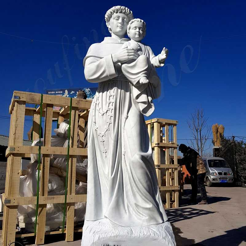 Outdoor Life Size St Anthony with Baby Jesus Marble Statue