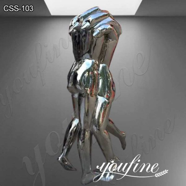 Outdoor Polished Modern Abstract Stainless Steel Figure Sculpture