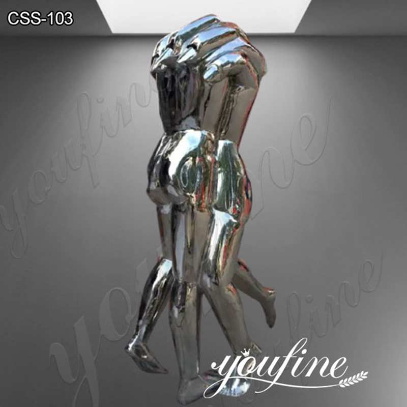 Outdoor Polished Modern Abstract Stainless Steel Figure Sculpture CSS-103