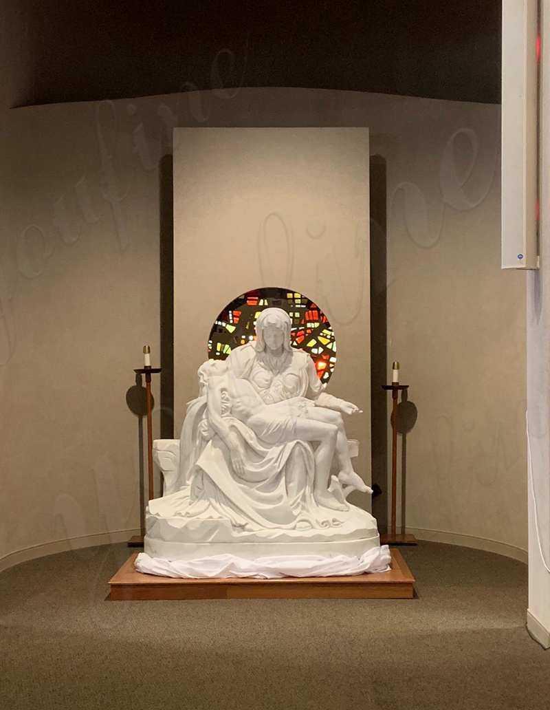Pieta Maria Holding Jesus Marble Statue for sale