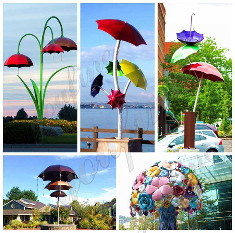 Polished Large Outdoor Stainless Steel Umbrella Sculpture Supplier CSS-96
