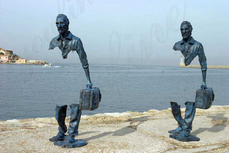 Bronze Bruno Catalano Travellers Sculpture: Carrying A Hollow, Walking Alone