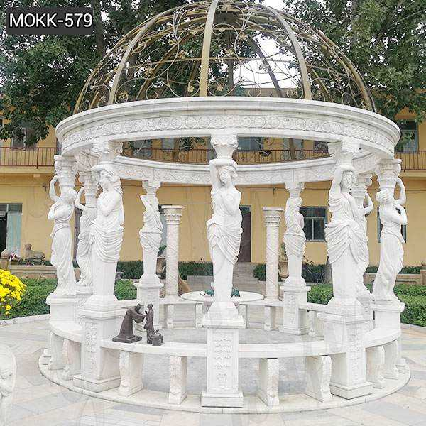 Cheap Price San Francisco Garden Marble Gazebo with Iron Top MOKK-579
