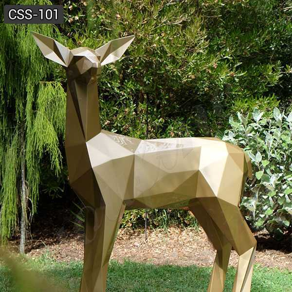 Garden Decor Small Deer Stainless Steel Abstract Sculpture Fabrication CSS-101