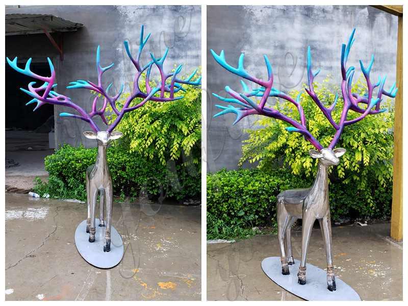 Stainless Steel Animal Deer Sculptures for sale