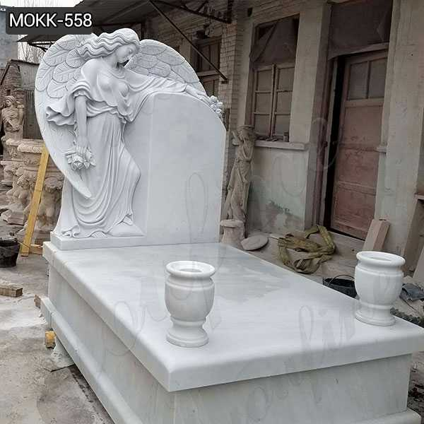 White Marble Angel Headstones for Graves Online