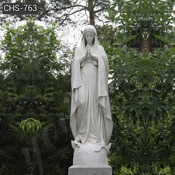Life Size White Marble Blessed Mother Mary Statue for Outside Decor CHS-763