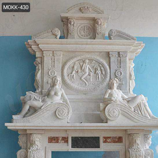White Marble Overmantel Fireplace with Statues