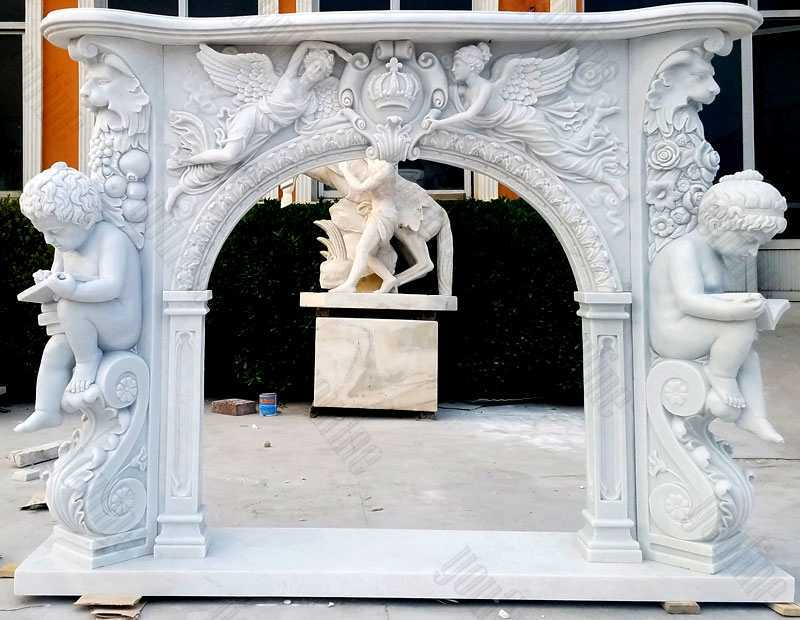 modern stone fireplaces french white marble hand carved fireplace surround design for sale