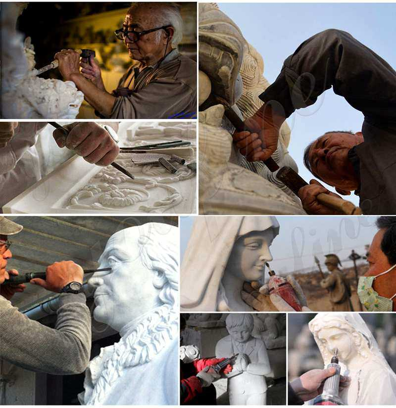 process of madonna and child outdoor statue