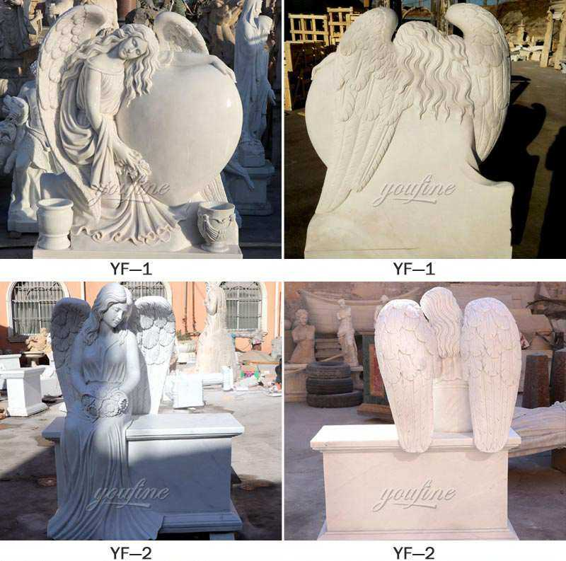 white marble cemetery angel headstone for sale