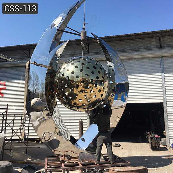 Abstract Large Stainless Steel Ball Sculpture for Sale