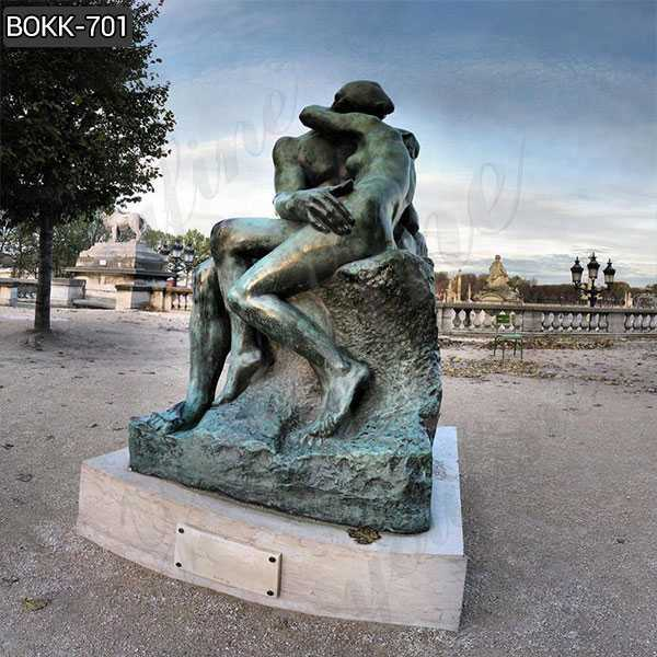 Antique Auguste Rodin the Kiss Bronze Statue for Outdoor