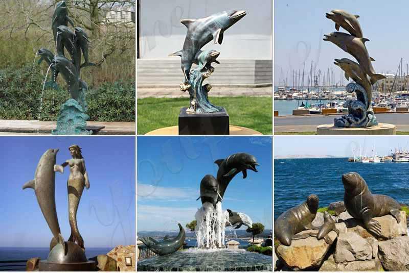 Bronze dolphin fountain sculpture