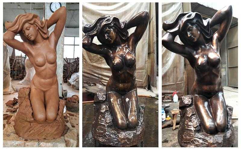 Bronze nude woman statue