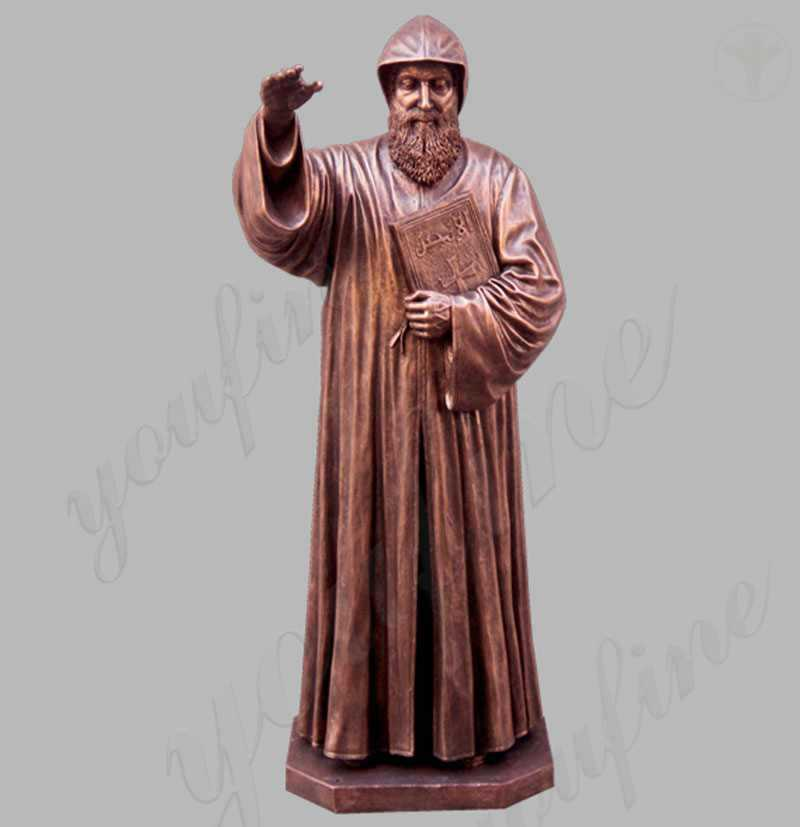 Bronze religious saint charbel outdoor garden life size statues for sale