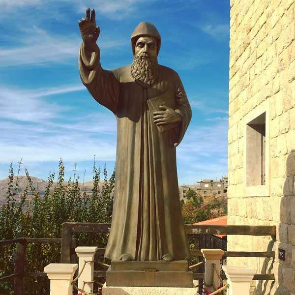 Large Outdoor Saint Charbel Bronze Religious Garden Statue for Sale BOKK-611