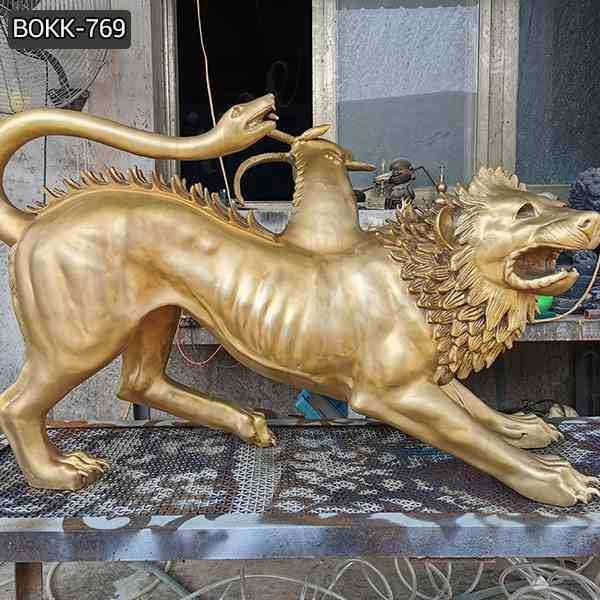 Life Size Chimera Bronze Spitfire Three Monster Statue for Sale BOKK-769