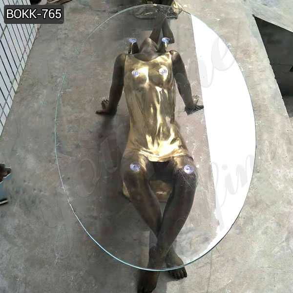 Custom Made Coffee Table with Bronze Woman Statue Base